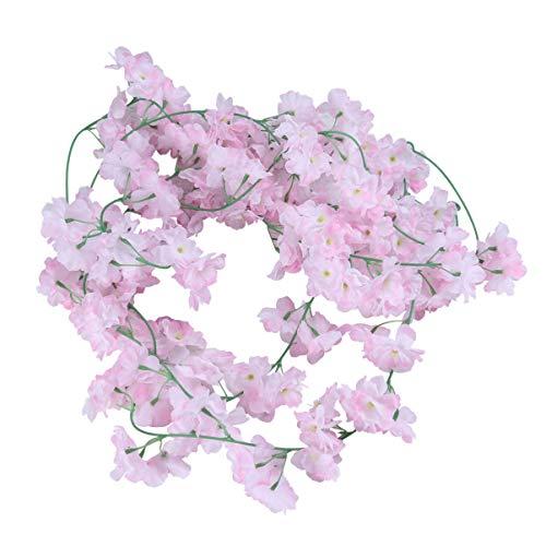 NOLITOY Guirnalda de seda de vid de 2 piezas, exquisita artificial para colgar en flor de cerezo de ratán para puerta de patio, jardín, arco, boda, fiesta (rosa blanco)