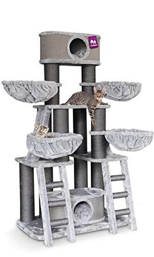 Petrebels Kratzbaum Grosse Katzen stabil für Maine Coon und schwere Katzen Skyline 185 cm Grau Kratzbaum XXL de Luxe