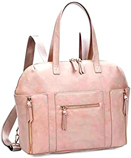 Kiddale Baby Diaper Bag Backpack- Premium, Stylish Multifunctional, PU Leather Ladies Handbag with Diaper Changing Station, Insulated Pockets, Stroller Hooks-Pink