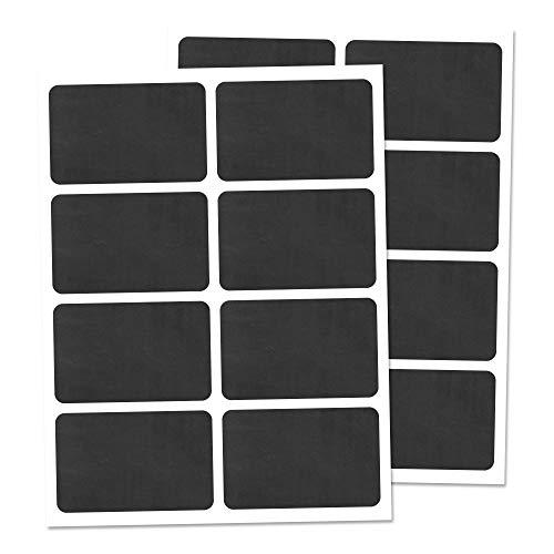 160 Piezas, Etiquetas de Pizarra Pegatinas Negra Botella Frasco, Reutilizable Borrable - 6 x 4 cm