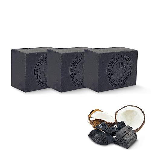Savon noir au charbon actif – Lot de 3 savons noirs au charbon vegetal pour un soin visage ou corps parfait ! Savon solide idéal pour traiter acné, point noir et autres impuretés