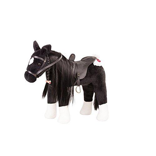 Götz 3402783 Kämmpferd Rappe Puppe - großes Plüschpferd für Stehpuppen - Stockmaß 37 cm - 52 cm großes schwarzes und biegsames Pferd mit Zaumzeug und Sattel