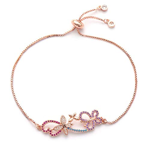 LKITYGF Exquisite Copper Chain Bracelet Gorgeous Butterfly Charm Microcrystalline Wedding Jewelry Gift Bracelet For Women (Color : Rose Gold)