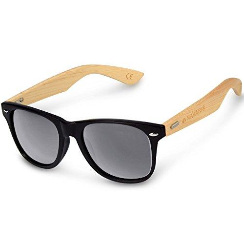 Navaris Gafas de sol UV400 - Gafas de madera para hombre y mujer - Gafas de sol con patillas de madera en diferentes colores - Negro y gris