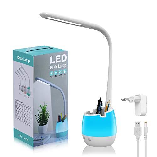 LED Schreibtischlampe Kinder, ERAY LED Lampe Kinder Touch Control / 3 Farbemodi & 3 Helligkeitsstufen / 8 Farbnachtlicht/Stifhalter/Handyhalter, LED Schreibtischlampe Dimmbar Kinder, Weiß