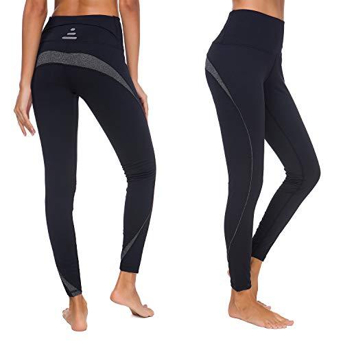Munvot  Sportleggins Damen Lang Sporthose Tights für Smartphone, L/ DE40-42, H3917-03(schwarz)