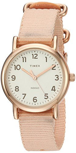 Timex Women's TW2R59900 Weekender 31mm Pink/Rose Gold-Tone Nylon Slip-Thru Strap Watch