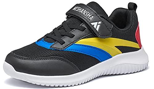 Mishansha Zapatillas de deporte para niños, para correr, para el tiempo libre, transpirables, ligeras, para correr por la calle., color Negro, talla 33 EU