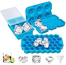 UOON Ice Cube Trays, Easy-Release Silicone and Flexible Ice Trays with Spill-Resistant Removable Lid, Fit Freezer, Water, ...