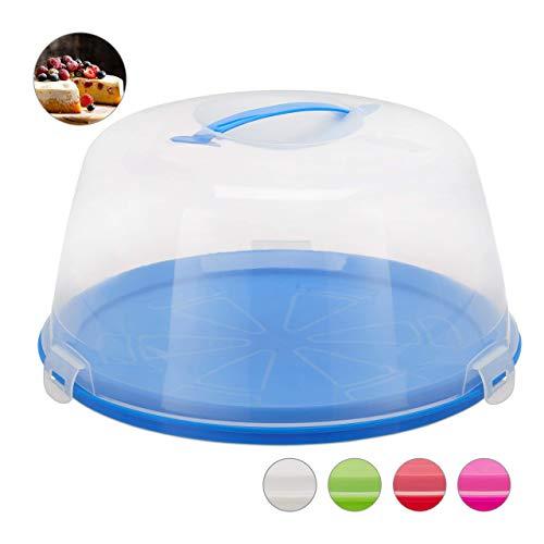 Relaxdays Kuchenbox rund, Tragegriff, Deckel, Kuchen & Torten, Muffins Transportbox, HxD: 18,5 x 35 cm, blau/transparent
