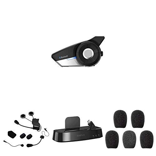 Sena 20s + Kit de Montaje Universal de Auriculares + Estación de Carga inalámbrica Wi-Fi + Espumas de Protección para Micrófono