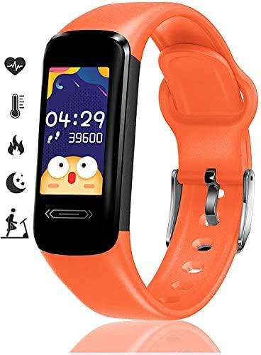 Monitor de fitness para niños, con temperatura, frecuencia cardíaca y presión arterial, reloj inteligente impermeable deportivo, podómetro, contador de calorías, pulsera de salud para mujer (naranja)
