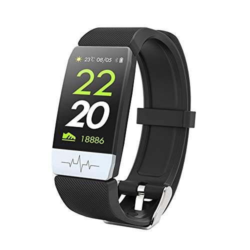 YUYLE Smartwatches nieuwe intelligente armband ECG + PPG bloeddrukzuurstof slaapmonitor Smart Band IP67 kleurendisplay waterdicht fitnessarmband, Blanco Y Gris