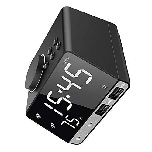 teng hong hui Sn LCD Visualización del Reloj Altavoz Bluetooth inalámbrico Digital del Reloj del Reloj de Altavoces inalámbricos de Radio Despertador con Puertos duales USB, Enchufe de la UE, Negro