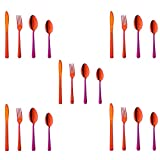 Buyer Star 20-Piece Rainbow Red Silverware Flatware Set Stainless Steel Travel Eating Utensil for Picnic Camping, Service for 5, Dishwasher Safe