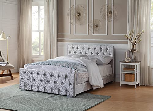 Home Treats Crushed Velvet Bed Frame. Single Bed Embossed With Diamante Jewels Plush Upholstered Finish 3FT (No Mattress, Single)