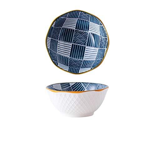 BJHSYNDR Cuencos para Servir 2 uds 5 Pulgadas 350 ml Cuenco de arroz de cerámica Azul y Blanco Vintage hogar Desayuno Cuenco...