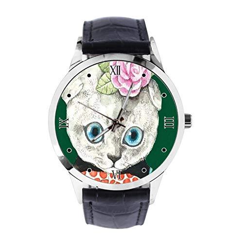 Reloj de pulsera unisex analógico de cuarzo con correa de cuero para niñas y niños