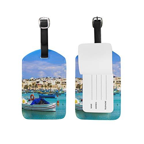 MyDaily Angelboote Village Gepäckanhänger PU Leder Tasche Reisekoffer Gepäck Etikett 2-teiliges Set