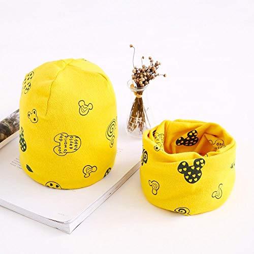 Casquette Homme Bonnet Bébé Foulard en Coton Bébé Chapeau Dessin Animé Impression Printemps Et Automne Hiver Enfants Chapeau Écharpe Ensemble Bébé Garçon Fille Chapeau-Yellow_Mickey_7Months-3Ans