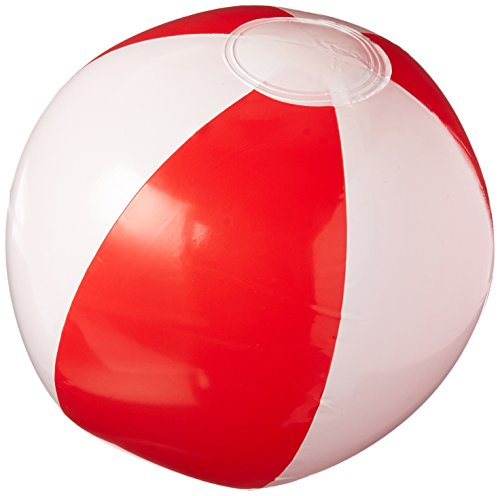 "12"" RED AND WHITE BEACH BALL"