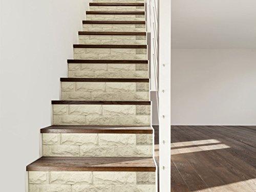 Vinilo para Escaleras Imitación Textura Piedra Blanca | 16 Pegatinas Adhesivas Para Paredes Escaleras | Vinilo Decorativo | Varias Medidas 80 x 18 cm | Escaleras | Decoración Escaleras Huellas Contrahuellas