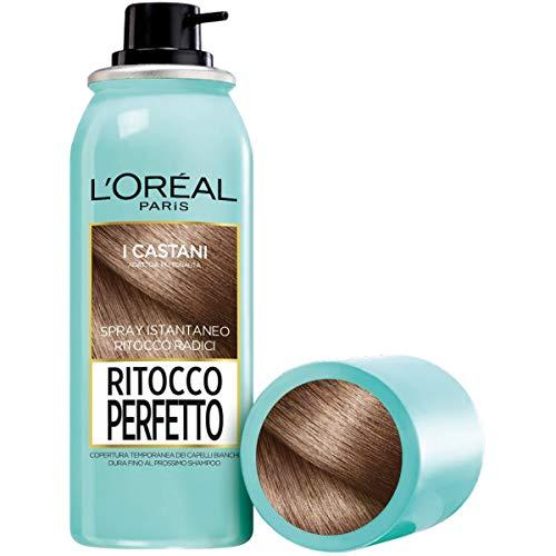 L'Oréal Paris Ritocco Perfetto Spray Correttore per Radici e Capelli Bianchi, Castano, 75ml