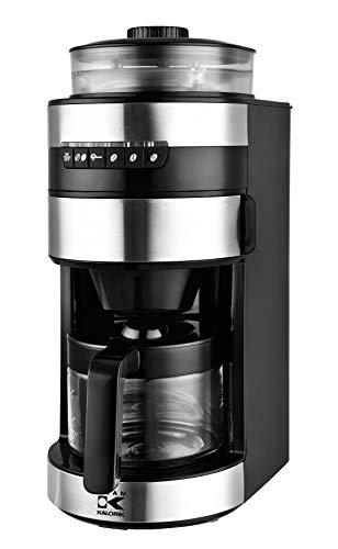 Team Kalorik Machine à Café avec Moulin à Grains de Café, Capacité 0.75L, Verseuse en Verre, Plastique/Acier inoxydable/Céramique, 750 W, Noir/Argenté, TKG CCG 1006