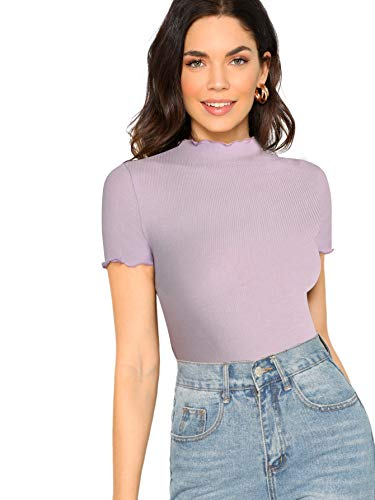 SheIn Women's Cute Mock Neck Short Sleeve T Shirts Lettuce Trim Juniors Tee Tops Purple X-Small