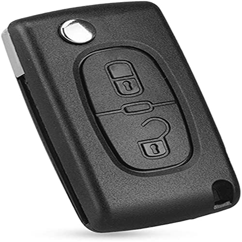 CHENXTT Carcasa de Llave de Coche,Reemplazo de Carcasa Compatible con Peugeot 107 207 307 307S 308 407 607,Accesorios de Decoracion(con Hoja)