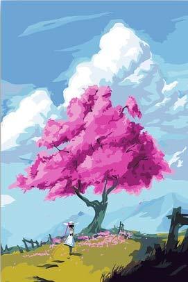 DIY Pink Cherry Blossom Girl Zeichnung Malvorlagen nach Zahlen mit Farben Zeichnung Farbe nach Zahlen Home -40x50cm No Frame