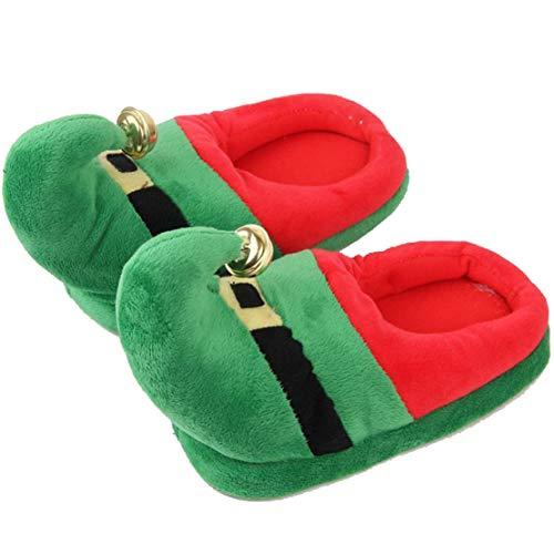 Zapatillas Unisex para Niños Adultos Zapatos a Juego Elfos Rojo Verde Navidad Zapatos con Suelas Antideslizantes Zapatos Familiares 25-47