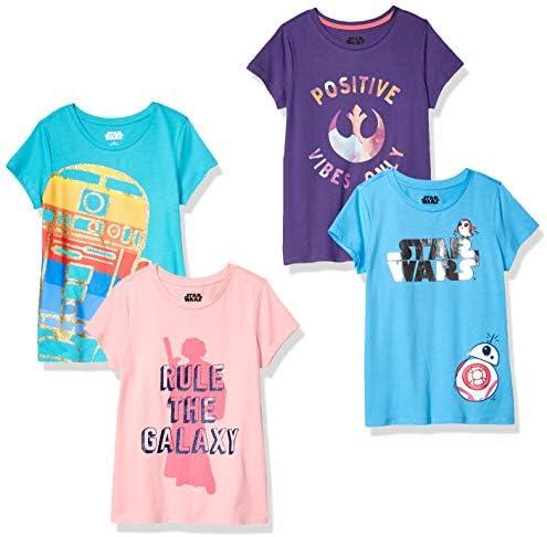 Spotted Zebra Girls Kids Disney Marvel Frozen Princess Short Sleeve T Shirts 4 Pack Star Wars product image