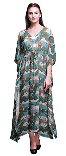 Bimba Turquoise Blue2 Tropical Leaves,Stripe & Parrot Bird Beach Kaftan Bikini Cover up Women's Maxi Dress Long Caftan-4X-5X