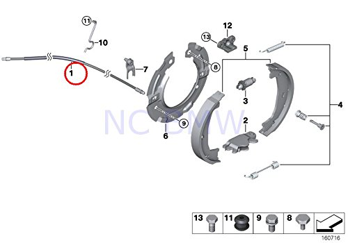 BMW 34 40 6 769 368, Parking Brake Cable