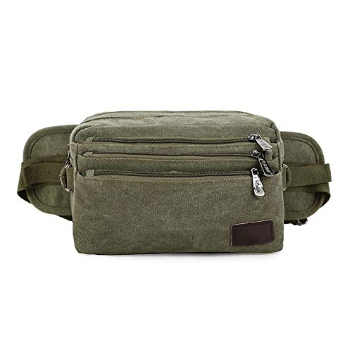 NKns Waist Bag Men and Women Canvas Wallet Outdoor Riding Bag Multi-Layer Large-Capacity Business Package Army Green Mochila Escolar con Ruedas