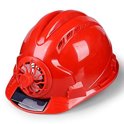 ZBM-ZBM Schutzhelm, Geschlossener Ventilatorhelm Vor Ort, Solaraufladung, Sommerhitzeverringerung, Konstruktion, Technischer Helm (Color : Red)