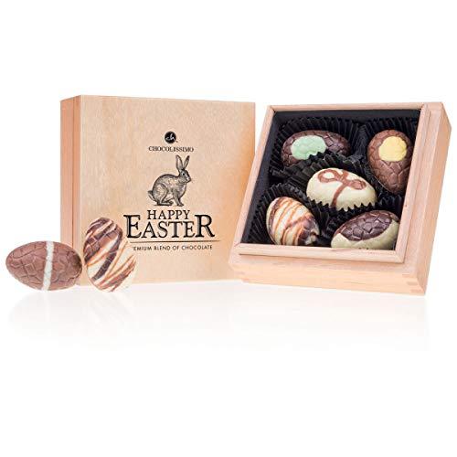 Easter Premiere Quadro - 5 gevulde chocolade paaseitjes | Belgische chocolade van premium kwaliteit in een houten kistje | Paasgeschenk | Chocolade voor Pasen | Paaschocolade | Chocolade eieren | Cadeau voor volwassenen | Vrouwen | Mannen