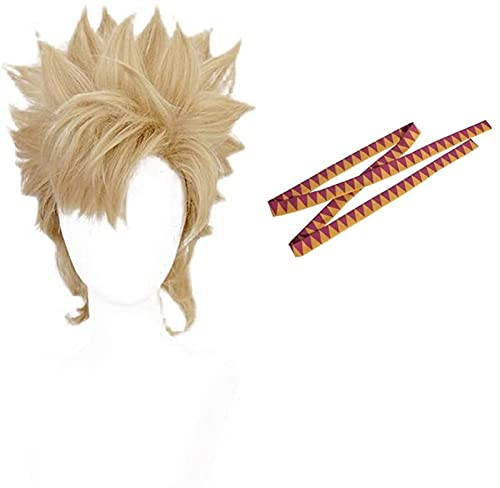 GIAOYAO Peluca de Cosplay de Anthonio Caesar Zeppeli con Diadema, Pelo Corto de Fiesta de Halloween de Anime en Capas