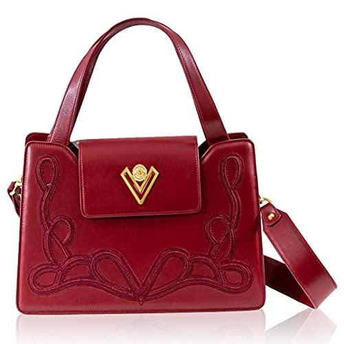 Valentino Orlandi Women's Medium Handbag Italian Designer Purse Top Handle Bag Moscato Red Embroidered Leather Tote in Accordion Design