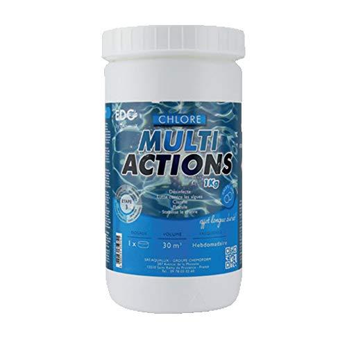 EDG Chlore Multi Actions Piscine - Galets 250g - Pot de 1kg - Chlore Multi Fonctions Piscine Longue Durée