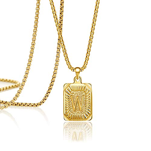 Joycuff Initial Necklace for Women Pendant Necklaces Cute Unique Trendy Handmade Square Stainless Steel Jewelry Simple Monogram Necklace 18K Gold Necklace Letter W