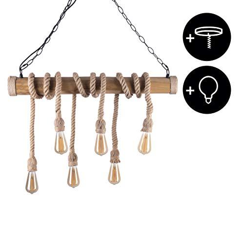 CROWN LED Vintage Bambus Lampe mit Hanfseilen E27 + 6 x Edison Leuchtmittel dimmbar+ Deckenfassung