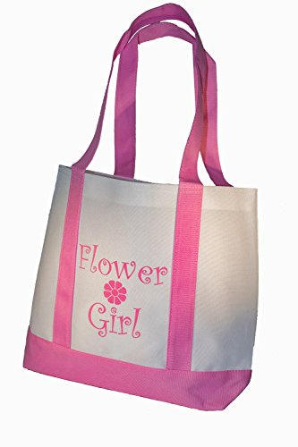 Yacanna Flower Girl Tote Bag White with Pink Straps, Large 14-inch by...