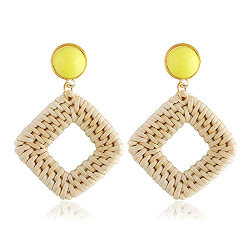 Vintage Geometric Earrings Diamond Handmade Grass And Rattan Bamboo And Rattan For Women(Yellow)