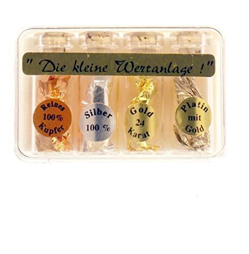 Zenzinger 24 Karat Goldfäschchen zur Dekoration echtes 24 Karat Gold, 4-Set Wertanlage (6x3cm) Platin, Gold, Silber, Kuper Set S8