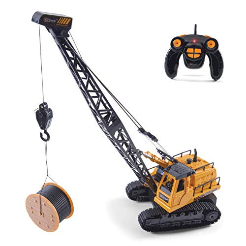 Top Race 12 Channel RC Remote Control Crane Tractor, Battery Powered Radio Control Construction Crane with Lights and Sound. TR-114