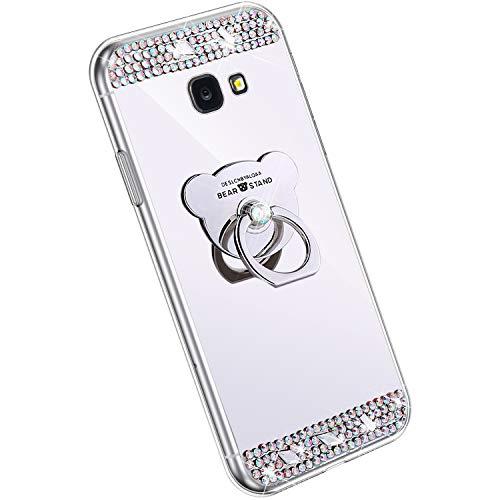 Ysimee Spiegel Hülle kompatibel mit Samsung Galaxy J4 Plus 2018 [Ring Holder], Dünne Handyhülle Samsung J4 Plus 2018 Bling Glitzer Diamant Hülle mit 360 Grad Ständer Stoßdämpfend Schutzhülle, Silber