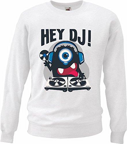 Sweatshirt EY DJ Monster als DJ met koptelefoon en opnemen van muziek Jazz Techno System, Funky Soul Festival Trance House Hiphop DJ in wit