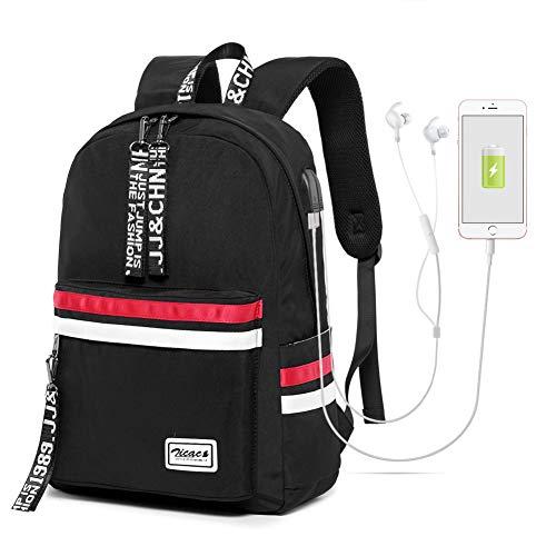 Zicac Damen Rucksack, Schultasche Schulrucksack Mädchen mit USB Casual Daypack Backpack Elegant für Outdoor Reiserucksack Herren Jungen Teenager Laptop-Rucksäcke (Schwarz)